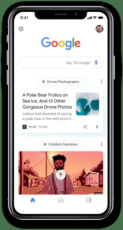 Aspecto de las tarjetas Google Discover en dispositivos móviles - 400x750px