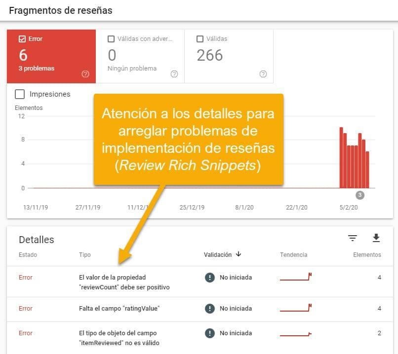 Captura de la Consola de Google - Fragmentos de Reseñas