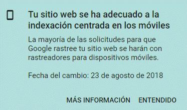Tu sitio web se ha adecuado para la indexación centrada en móviles - Aviso