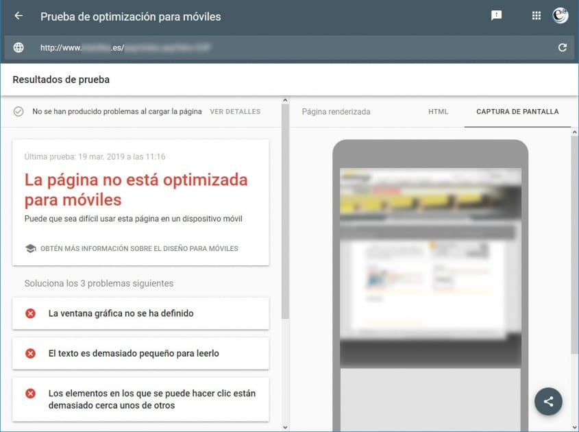 Web obsoleta no pasa la prueba de optimización para móviles de Google